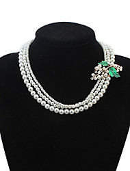 Euramerican Classic Luxury Delicate Elegant Maple Leaf Pearl Lady Chrismas Party Necklace Gift Jewelry