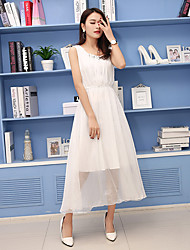 Women's Casual/Daily Loose Dress,Solid Round Neck Midi Sleeveless Chiffon Summer Mid Rise Inelastic Medium