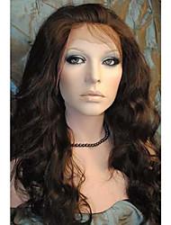 Femme Perruque Synthétique Lace Front Mi Longue Ondulation naturelle Brun Ligne de Cheveux Naturelle Perruque Naturelle Perruque
