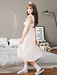 Women's Night Dress Bow V Neck Sleeveless Comfort Solid Sexy Pajamas