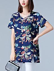 Damen Blumen Einfach T-shirt,Rundhalsausschnitt Sommer Kurzarm Baumwolle Elasthan Mittel
