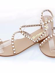 Damen Sandalen Komfort Leuchtende Sohlen PU Sommer Normal Komfort Leuchtende Sohlen Schwarz Mandelfarben Flach