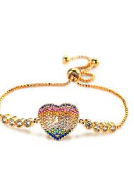 Lureme 24K Gold Brass CZ Paved Rainbow Heart Charm Pullstring Adjustable Bracelet