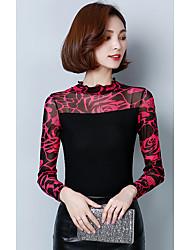 Damen Druck Einfach T-shirt,Ständer Langarm Polyester