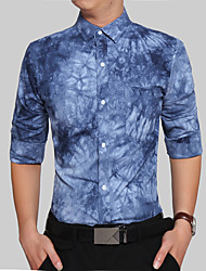 Men's Office/Career Business Daily Casual Casual/Daily Work Vintage Simple All Seasons Shirt,Print Geometric Pattern Jeans Shirt Collar
