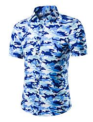 Herren Bedruckt Tarnfarben Einfach Aktiv Lässig/Alltäglich T-shirt,Stehkragen Sommer Kurzarm Baumwolle Dünn