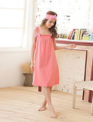 Women's Night Dress Sleeveless Bow Comfy Solid Sweet Pajamas