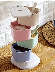 Wheat Straw Flour Tank Vertical Rotary Seasoning Box Kitchen Salt Seasoning Box