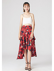 Women's Casual/Daily Midi Skirts Loose Floral Summer
