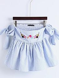 Для женщин На выход На каждый день Лето Блуза Вырез лодочкой,Секси Простое Уличный стиль Полоски Цветочный принт Вышивка С короткими