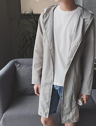 Men's Daily Modern/Comtemporary Summer Trench Coat,Solid Hooded Long Sleeve Long Polyester Others
