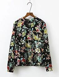 Feminino Jaqueta Casual Moda de Rua Outono Primavera,Estampado Longo Others Pêlo de Cordeiro Colarinho de Camisa Manga Longa