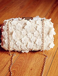 Women Evening Bag Silk All Seasons Event/Party Party & Evening Date Baguette Flower Magnetic White