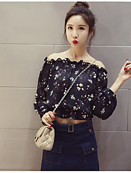Women's Daily Casual Sexy Cute Spring Blouse,Solid Flower/Floral Boat Neck Long Sleeve Chiffon Thin