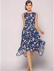Feminino balanço Vestido,Para Noite Casual Trabalho Sofisticado Floral Decote Redondo Altura dos Joelhos Sem Manga Poliéster VerãoCintura