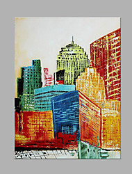 IARTS®Modern Abstract Oil Painting Modern City Architecture Landscape Picture with Stretched Frame Handmade Painting For Home Decoration Ready To Hang