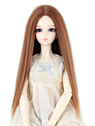 Synthetic Doll Accessories Long Straight Light Brown Color Middle Centre Parting Hair for 1/3 1/4 Bjd SD DZ MSD Doll Costume Wig Not for Human Adult