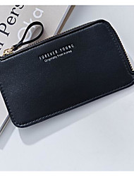 Women Coin Purse PU Polyester All Seasons Casual Outdoor Rectangle Magnetic Light Blue Blushing Pink Black