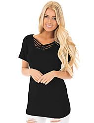 Tee-shirt Femme,Couleur Pleine Anniversaire Quotidien Mignon Eté Manches Courtes Asymétrique Polyester Spandex Moyen