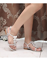 Women's Sandals Comfort Real Leather Summer Casual Comfort Silver Flat