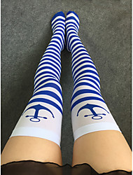Women's Thin Stockings Blue Stripe Print Stockings