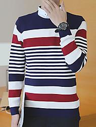 Standard Pullover Da uomo-Quotidiano Casual Semplice A strisce Monocolore Rotonda Manica lunga Cotone Maglia Primavera AutunnoMedio