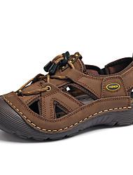 Herren Sandalen Leuchtende Sohlen Echtes Leder Sommer Normal Upstream Schuhe Elastisch Flacher Absatz Dunkel Braun Khaki Flach