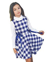 Menina de Vestido Xadrez Todas as Estações Algodão Sem Manga
