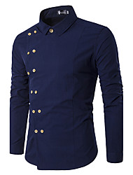Men's Party Casual/Daily Vintage Simple Spring Fall ShirtSolid Shirt Collar Long Sleeve Cotton Medium 916724