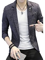 Men's Casual/Daily Work Simple Vintage Spring/Fall BlazerSolid Shirt Collar Long Sleeve Regular Cotton Modal Polyester Nylon k492