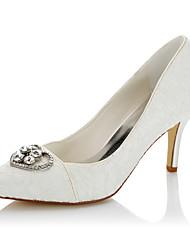 Women's Heels Basic Pump Lace Satin Fall Winter Wedding Party & Evening Dress Basic Pump Rhinestone Stiletto Heel Ivory 3in-3 3/4in