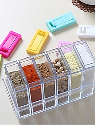 6Pcs/Set   Transparent Spice Jar Colorful Lid Seasoning Box  Kitchen Tools Salt Condiment Cruet Storage Box Containers
