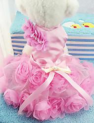 Cachorro Vestidos Roupas para Cães Casual Floral/Botânico Roxo Rosa claro