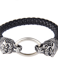 Lureme Vintage Jewelry Metal Tiger with Leather Chain Bangle Bracelet-Tiger