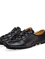 Hombre Zapatillas de deporte Mocasín Cuero Primavera Otoño Casual Con Cordón Tacón Plano Negro Marrón Rojo Pantalla de color 5 - 7 cms