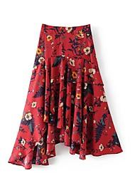 Для женщин Милые Уличный стиль На выход На каждый день Midi Подол,Качеля Джинса Цветочный принт Весна Лето