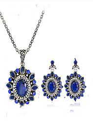Жен. Свадебные комплекты ювелирных изделий Имитация Sapphire Винтаж Euramerican В форме цветка НазначениеДля вечеринок Для праздника /
