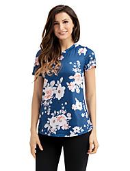 Tee-shirt Femme,Imprimé Anniversaire Quotidien Mignon Eté Manches Courtes Col Arrondi Polyester Spandex Moyen