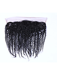 Popular&Fashion Grade 8A Natural Black Brazilian Kinky Curly Remy Human Hair Closures Free Part 13*4 Ear to Ear Lace Frontal Closures for Women