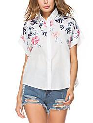 Women's Street Street chic Summer Shirt,Embroidery Shirt Collar Short Sleeve Cotton Medium