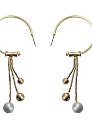 Women's Drop Earrings Imitation PearlBasic Unique Design Dangling Style Pendant Pearl Circle Friendship Multi-ways Wear Cute Style