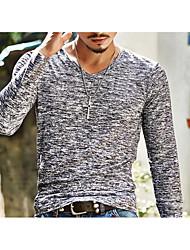 Herren Solide Aktiv Ausgehen T-shirt,Rundhalsausschnitt Langarm Baumwolle