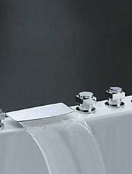 Modern Style Widespread Waterfall High Quality with  Three Handles Five Holes for  Chrome Bathroom  Bathtub Mixer Faucet