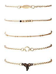 Mulheres Homens Pulseiras em Correntes e Ligações Bracelete Moda Hip-Hop Rock Liga de Metal Chapeado Dourado Metálico Forma Geométrica