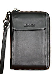Homme Mobile Bag Phone Cuir de Vache Toutes les Saisons Décontracté Fermeture Noir
