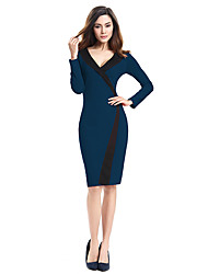 Womens Vintage Brief Split Elegant Casual Work Long Sleeve V-Neck Bodycon  Women Office Pencil Dress D0570