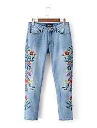 Для женщин Уличный стиль strenchy Джинсы Брюки,Со стандартной талией Свободные Чистый цвет В полоску Вышивка