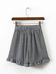 Femme Street Chic Taille Normale strenchy Short Pantalon,Large Couleur unie Déchiré Grille / motifs Carreaux