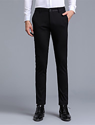 Men's Mid Rise strenchy Chinos Pants,Simple Slim Pure Color Solid Letter & Number