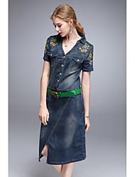 Dámské Vintage Jednoduché Jdeme ven Běžné/Denní Shift Džínovina Swing Šaty Jednobarevné Výšivka,Krátký rukáv Do V Délka ke kolenům